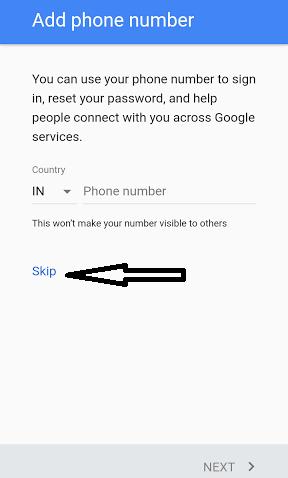 skip gmail number verifiy