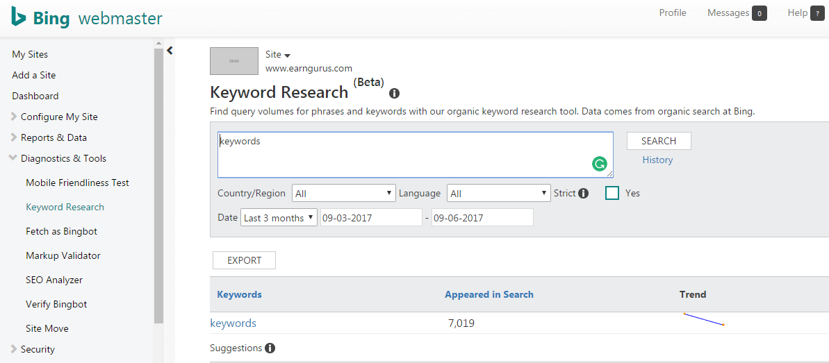 Bing Keyword Research Tool