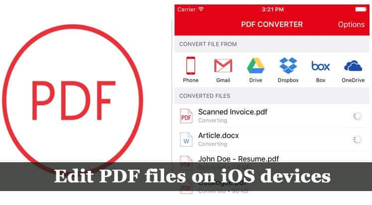 edit PDF files on iOS devices