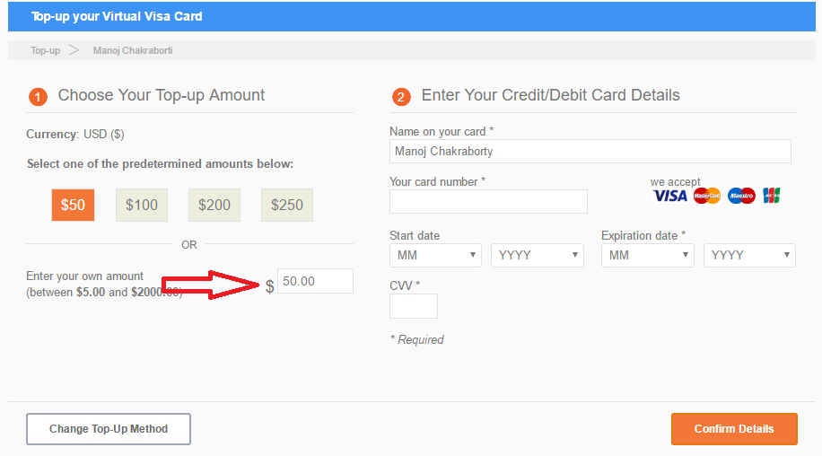 How To Create and TopUp Entropay with Debit Card