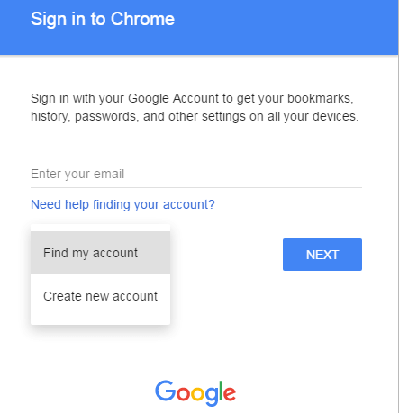 find my accoung on chrome