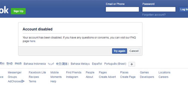 Unblock Disabled Facebook Account