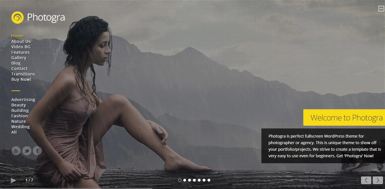 Fullscreen portfolio wordpress Theme