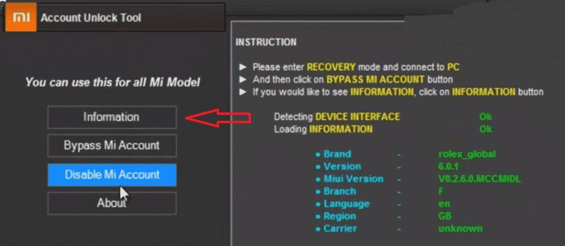 How To Remove MI Account Using Mi Account Unlock Tool