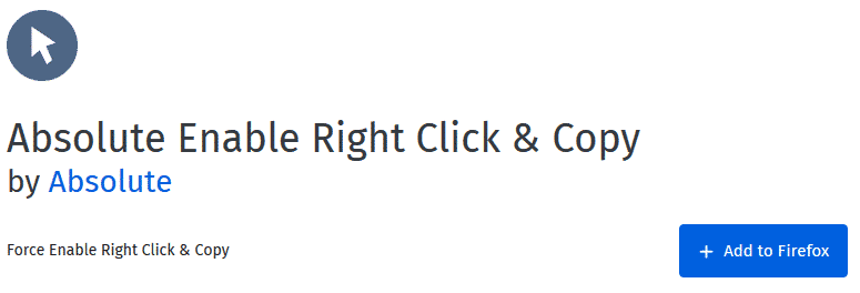 Absolute Enable Right Click & Copy addon