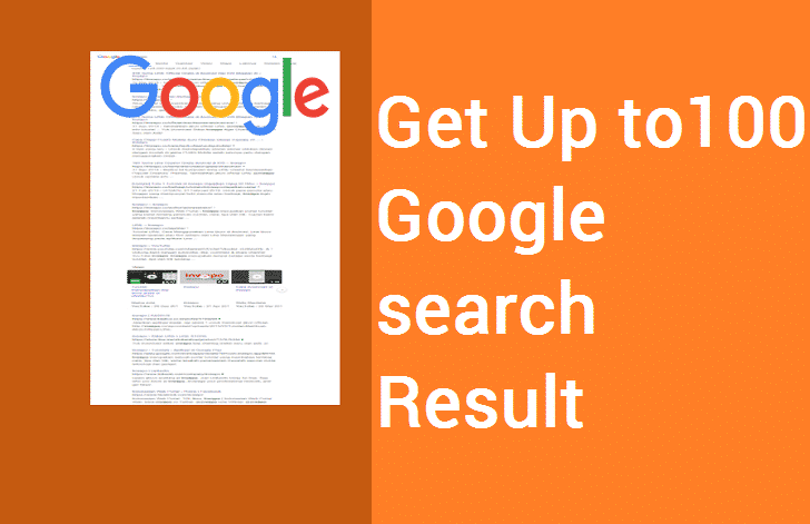 100 search results in Google search