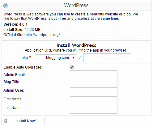 Install WordPress to Create a Blog