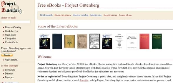 Project Gutenberg free books