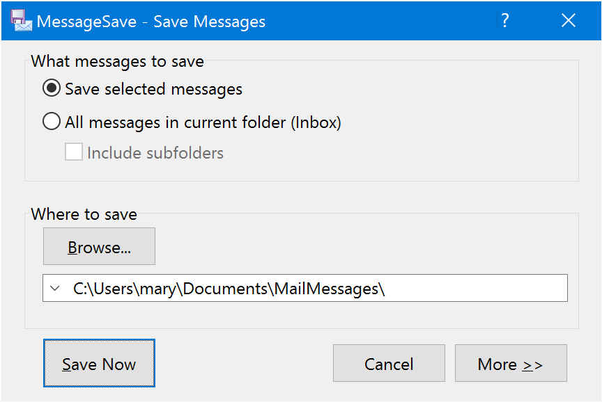 save mail automatic