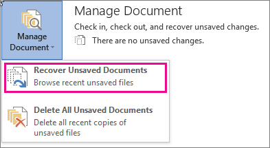 Restore Word Document from Word Files' Previous Version