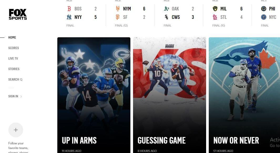 Fox Sports free live stream sports site