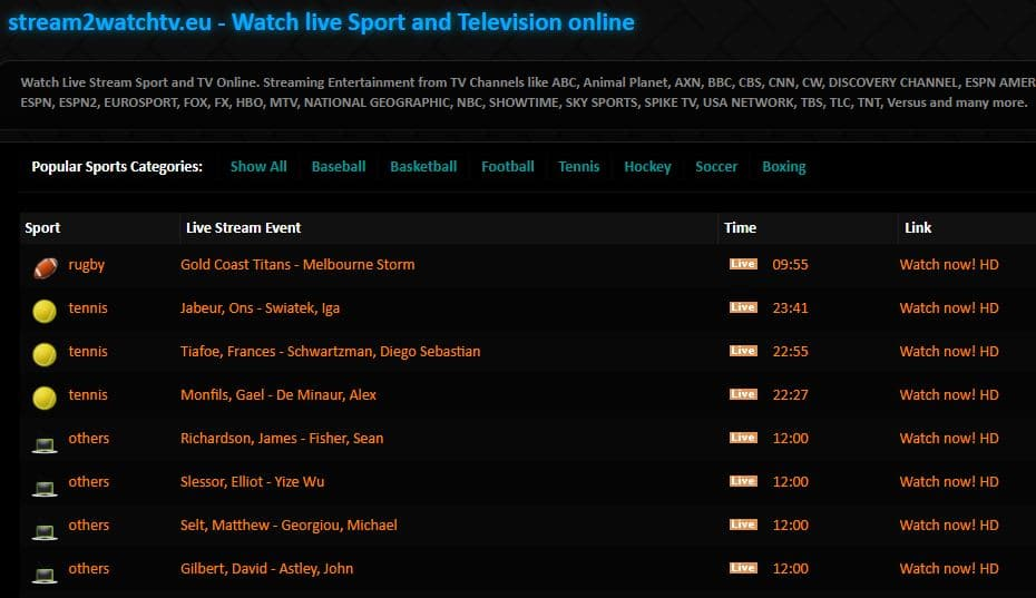 Stream2Watch - Best Sports Live Streaming