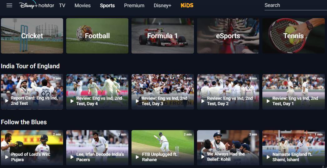 hotstar free sports site