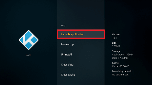 Select Launch kodi on firestick